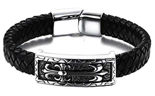 Stainless Leather Vintage Magnetic Bracelet