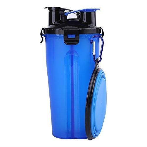 Asixx Botella de Agua para Mascotas, 2 En 1 Botella de Agua Portátil, de PP,Alimentador para Perro,Gato,Etc(Azul)