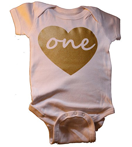 Custom Kingdom Baby Girls ONE Heart First Birthday Bodysuit (18 Months, (1st Bday Party Themes)