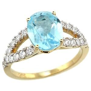 Revoni - Anillo de compromiso de oro blanco con topacio azul