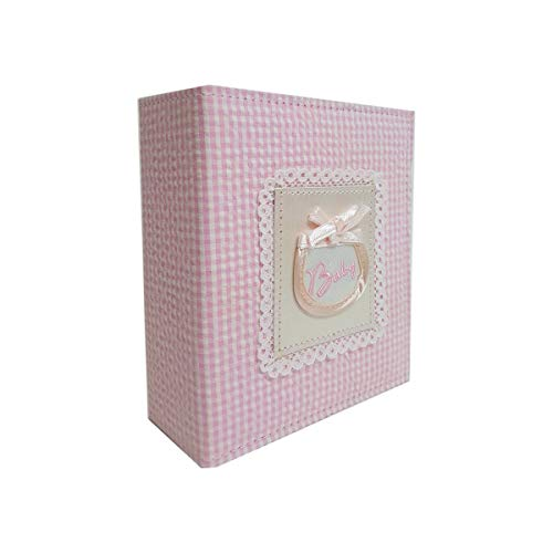 Pioneer Sewn Fabric Baby Collection Bound Mini-Max Photo Album, Designer Baby Gift Covers, Holds 100 4 x 6 Photos, 1 Per Page Blue or Pink, colors may vary by Pioneer