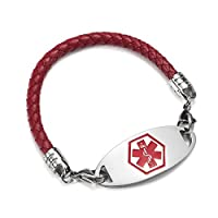 BAIYI Red Leather Medical Alert ID Bracelet for Women and Girls 6-8 inch Free Engraving