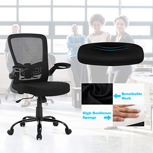 BestOffice Office Chair Mesh  Desk Chair Lumbar Support Desk Chair Ergonomic Adjustable Computer Chair Swivel Ergonomic Task Chair with Flip Up Armrest for Home & Office,Mid Back, Black by BestOffice (Image #4)