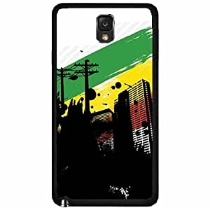 City with Rasta Flag Background TPU RUBBER SILICONE Phone Case Back Cover Samsung Galaxy Note III 3 N9002
