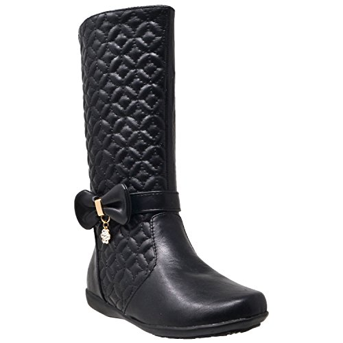 Generation Y Kids Knee High Flat Boots Girls Quilted Leather Bow Accent Zip Close Riding GY-KB-ICE-66