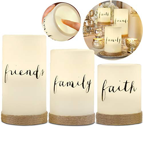 Apothecary 3-Piece Flickering LED Candle Set with Automatic Daily Timer, Flameless Candles, Real Wax, Battery Powered, Light Dances and Flickers, Twine Wrapped Tiered Pillars (Friends, Family, Faith)