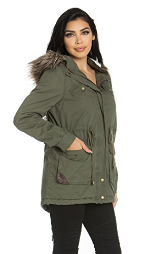 Leather Lined Parka - SOHO GLAM Leather Detail Fur Lined Hooded Parka Coat in Olive
