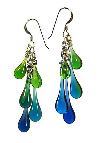 Cluster of Blue and Green Glass Droplets Cascade Earrings