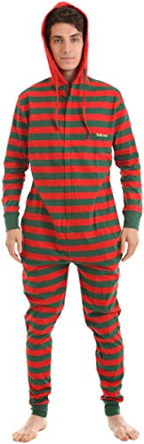Funzee Non Footed Pajamas Adult Red Green Striped Festive Onesie XS-XXL (Size by Height) (Small)