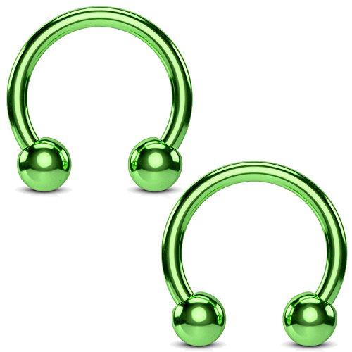 Circle Green Ring - BodyJ4You 2PCS Horseshoe Circular Barbell Green Steel 16G CBR 8mm Nipple Ear Lobe Body Piercing