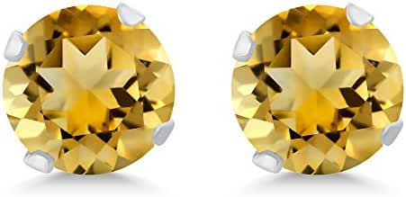 1.40 Ct 6MM Round Yellow Citrine 925 Sterling Silver Gemstone Birthstone 4-Prong Stud Earrings