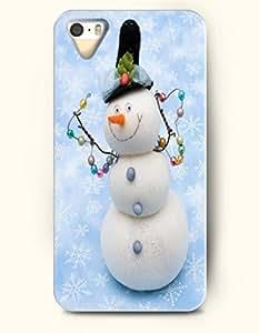 OOFIT iPhone 4 4s Case - An Elegant Snowman Dancing On Sky Blue Floor