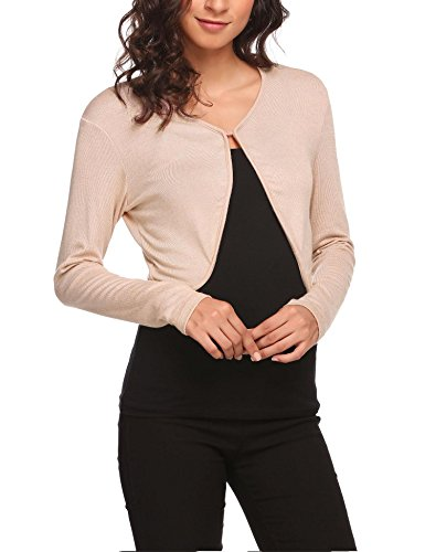 HOTOUCH Womens Long Sleeve Bolero Shrug Soft Knit Bolero Jackets Crop Lightweight Sweater Cardigan Apricot ()