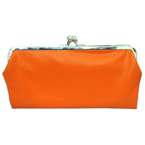 - Double Frame Vintage Style Clutch Purse Wallet (ORANGE)