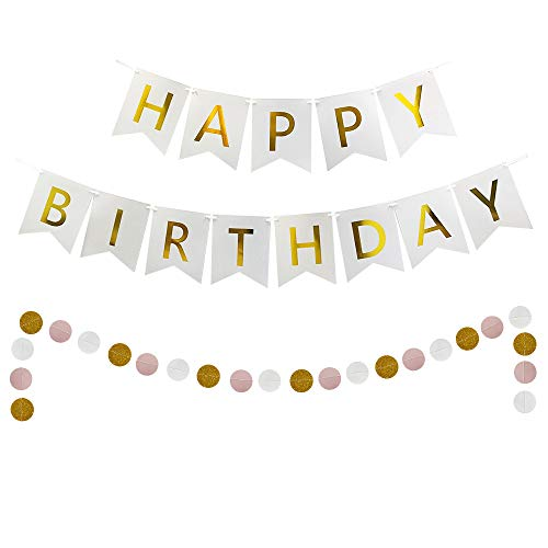 Birthday Banner - Happy Birthday Banner White and Gold and Paper Circle Dot Garland Banners for Birthday - Birthday Circle Happy