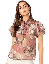 Romwe Blusa de Mujer con Estampado Floral, Informal, Manga Corta, Elegante, Multicolor, M