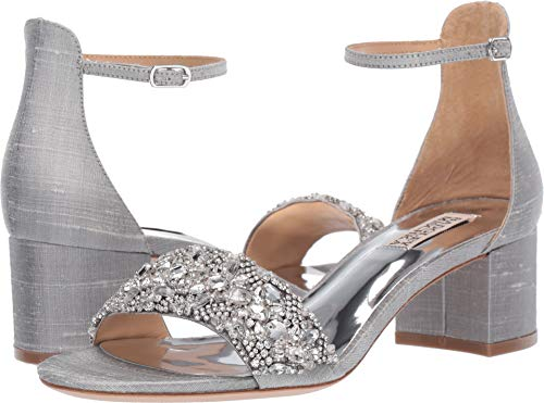 (Badgley Mischka Women's Liz Heeled Sandal, Silver Silk, 7 M US)