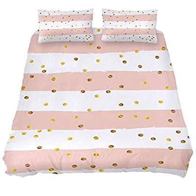 Josid Gold Polka Dots On Blush White Striped Background Duvet Cover Set,Comforter Cover 3 Pieces Bedding Set with Zipper Closure, 2 Pillow Shams 1 Duvet Cover,Bedspread for Childrens/Kids Queen Size: Home & Kitchen