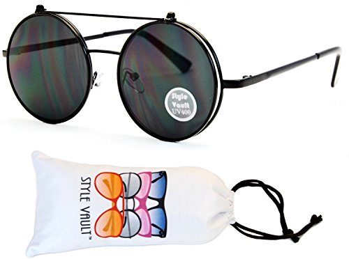 V135-vp Style Vault Round Flip up Django Metal Sunglasses (B2735F Black-dark, - Up Flip Shades