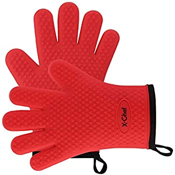 X-Chef Silicone Oven Mitts, Kitchen Oven Gloves for Cooking, Heat Resistant with Cotton Lining for BBQ Grilling Baking