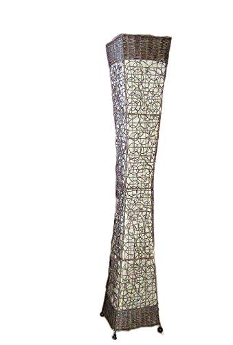Exotische Bodenlampe aus Rattan und Textil natur 150cm
