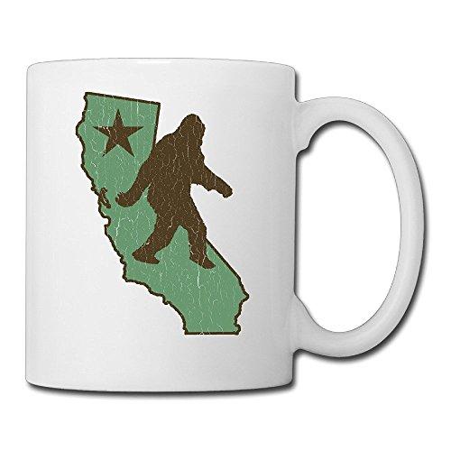 Price comparison product image White Beaufiy Novelty California Flag Bear Bigfoot Vintage Look Coffee Mug
