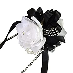 Wrist Corsage-white Roses with Black Ribbon and Bling 80