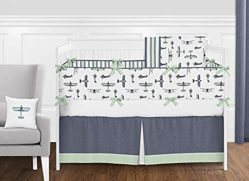 Navy Blue, Mint Green, Grey and White Vintage Airplane Aviator Baby Boy Crib Bedding Set with Bumper by Sweet Jojo Designs - 9 Pieces ()