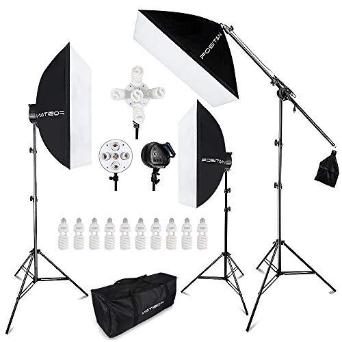 FOSITAN 3X 20'' x 28''Softbox Photography Lighting Kit, Boom Arm Headlight Lighting Kit with Sandbag, 2500W Continuous Lighting Kit with 2M Light Stand, Studio Lighting Kit with 11pcs Bulbs from FOSITAN