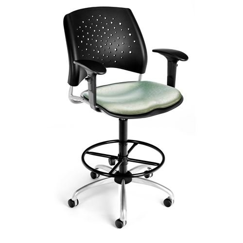 OFM Elements Stars Swivel Chair with Arms, Olympus Beluga by OFM