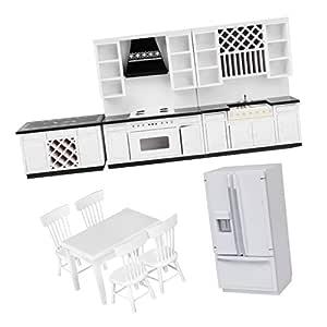 Amazon.es: D DOLITY 1:12 Miniaturas Conjunto de Muebles de Cocina ...