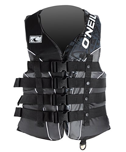 O'Neill Wake Waterski Men's Superlite USCG Vest (Blk/Met/Blk, Large)