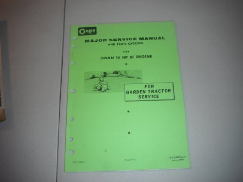 anual and Parts Catalog for Onan 16 Hp Bf Engine-1977 (Hp Parts Catalog Manual)