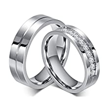 ROWAG 6MM Men Titanium Stainless Steel Wedding Promise Engagement Couple Rings for Him and Her Women Cubic Zirconia CZ Bands