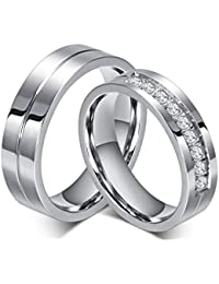 rowag 6mm men titanium stainless steel promise engagement couple wedding bands for him and her women cubic zirconia cz rings - Titanium Wedding Rings For Her