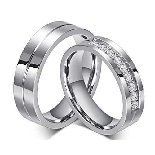 ROWAG 6MM Men Titanium Stainless Steel Promise Engagement Couple Wedding Bands for Him and Her Women Cubic Zirconia