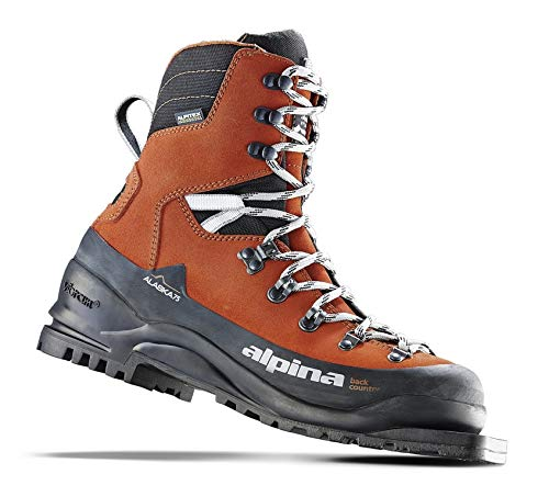 (Alpina Sports Alaska 75 Leather 3 Pin 75 mm Backcountry Cross Country Nordic Ski Boots, Red/Black, Euro 44)