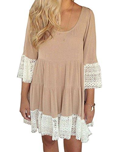 Crochet Collager Sleeve Women's Loose Neck Flare 4 3 Khaki1 Splice Dress Lace Scoop 0q0rTw