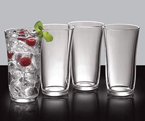 Tumbler Highball Set OF 6-18 oz Heavy Base! Thick Wall! The Substantial Pressed Glass Promises LONG LASTING.! Dishwasher Safe! Sleek Silhouette! Versatile: Water Beverages Beer & Cocktails (6) - Heavy Pressed Glass