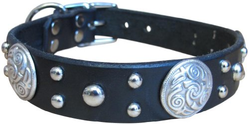 "Paco Collars - ""Celtic"" - Handmade Leather Medium Dog Collar - 1""Wide - Silver - Tan 16""-18"""