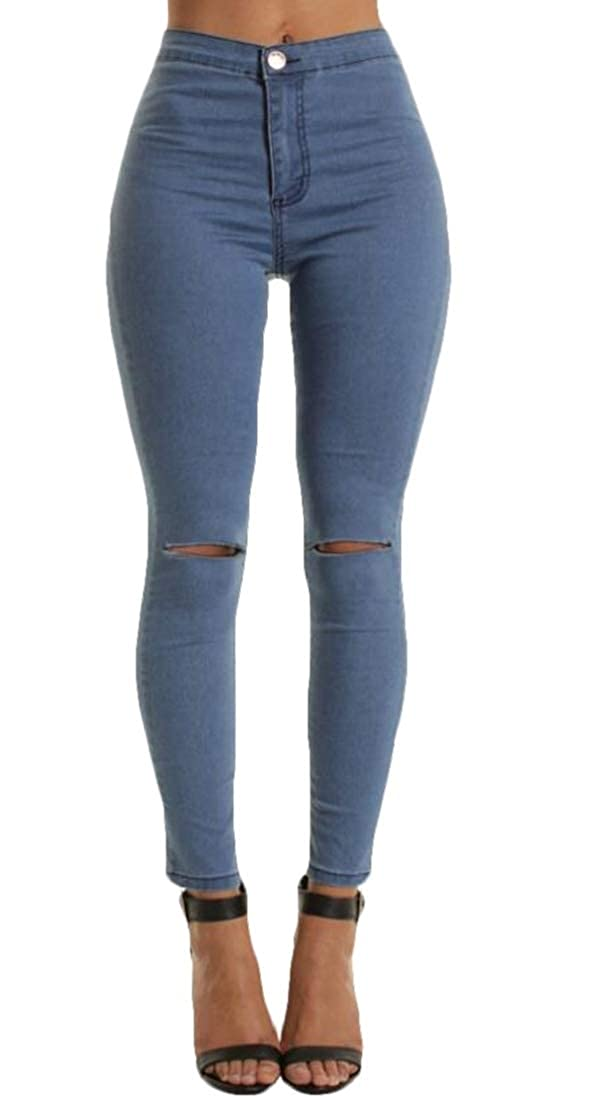 ARTFFEL Womens Knee Holes Slim Fit High Rise Stylish Stretch Jeans Denim Pants
