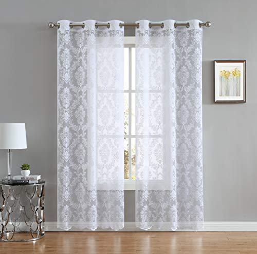 LinenZone Lisa Knitted Lace Curtain Medallion Design with Scalloped Bottom - Total Size 76 Inch Wide (38 Inch Each Panel) - 84 Inch Long - Total 12 Grommets (2 Panels 38 x 84, White)