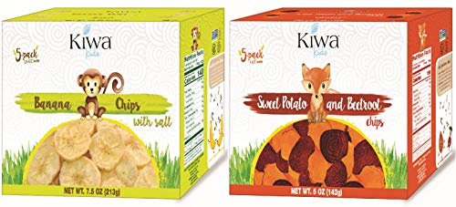 Kiwa Kids Chips 10 Bag Dual-Pack (5 Banana Chips With Salt, 5 Sweet Potato & Beet Chips) All Natural Plant Based, Sustainably Sourced, Non-GMO, Gluten Free, Lunchbox Snack by Kiwa