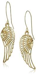 10k Yellow Gold Angel Wing Drop Earrings