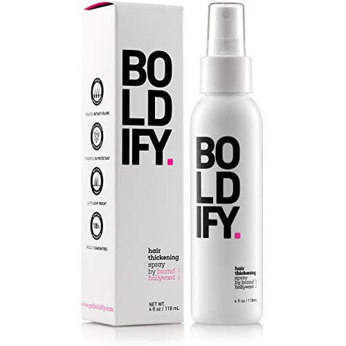 BOLDIFY Hair Thickening Spray - Get Thicker Hair in 60 Seconds - Stylist Recommended Hair Thickening Products for Women and Men - Hair Volumizer + Texturizing Spray for Hair Volume and Root Lift -4 oz (Best Hair Products For Fine Curly Hair)