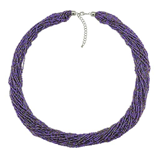 Bocar Long Multiple Row Handmade Beaded Statement Necklace with Gift Box (NK-10235-purple)