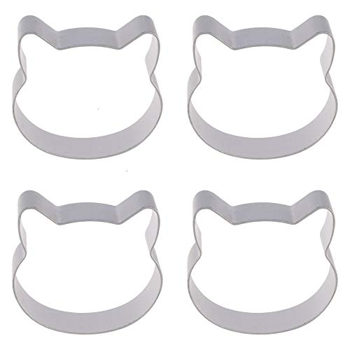 Cookie Cutters, 4 Pack Cat Face Cookie Cutter Set Aluminum Alloy Cookie Mold Biscuit Dough Cutter Kitchen Baking Tool ()