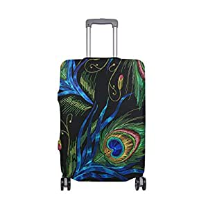 Mydaily Peacocks Feathers Luggage Cover Fits 18-22 Inch Suitcase Spandex Travel Protector S