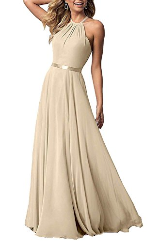 NewFex Halter Bridesmaid Dress 2019 Long Chiffon Women Formal Backless Simple Prom Party Gown Champagne 8