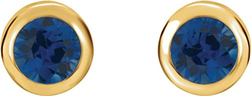 Chatham Created Blue Sapphire Stud Earrings, 14k Yellow Gold by The Men's Jewelry Store (Unisex Jewelry)